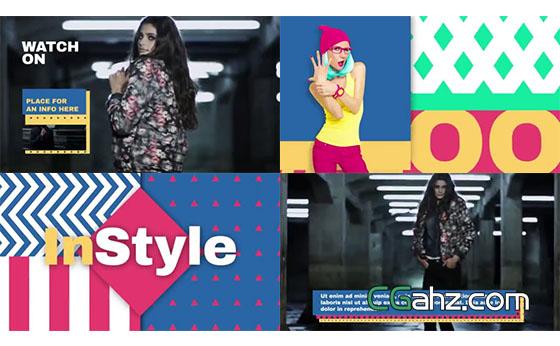 色彩缤纷鲜艳的时尚秀整体包装AE模板
