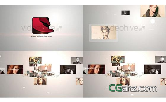 众多图片与logo标志共同汇聚交融的AE模板
