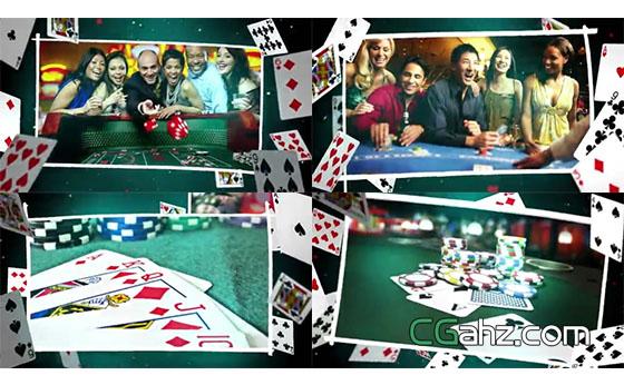 扑克牌空间中的图像内容展示AE模板