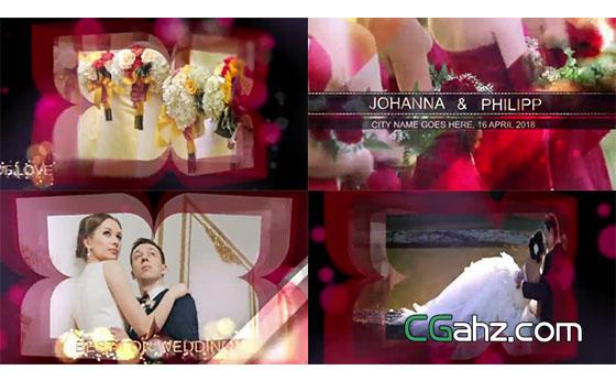 浪漫婚礼照片以蝴蝶花朵形状折叠展开AE模板