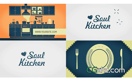 美食厨房或餐厅宣传的片头动画AE模板