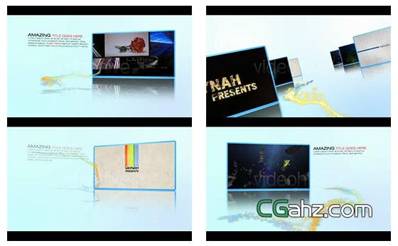粒子穿梭在视频相册之间切换展示AE模板