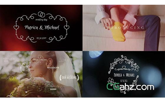简洁干净婚礼微章动感滑出字幕标题动画AE模板