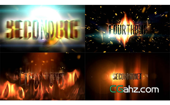 科幻火焰爆炸文本3D字幕AE模板