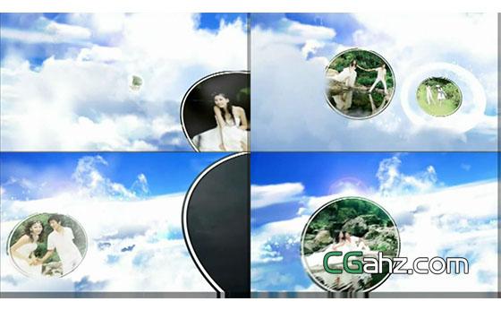 天空爱情云端的婚礼视频照片展示AE模板