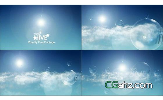 云端上的泡泡logo标志演绎AE模板