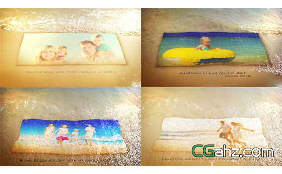夏天沙滩海浪冲洗照片展示AE模板