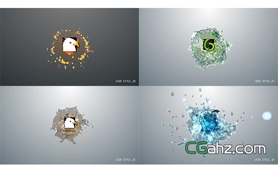 液体水流水花飞溅Logo动画展示AE模板