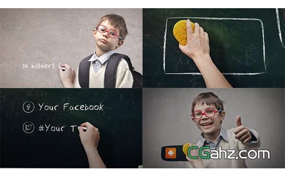 学校黑板和粉笔主题的包装AE模板