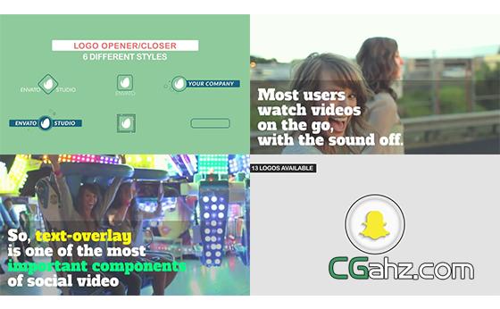 社交媒体主题的运动元素包AE模板