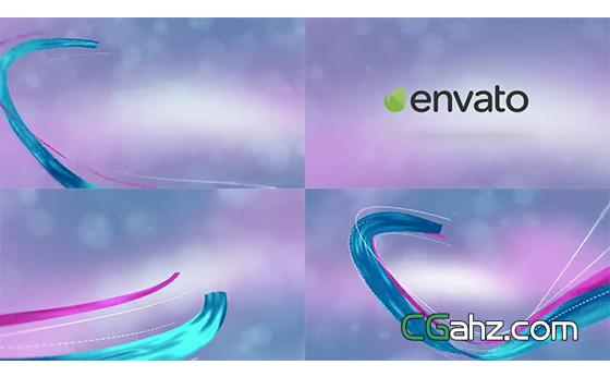 飘逸的彩色丝绸揭示出logo标志的AE模板