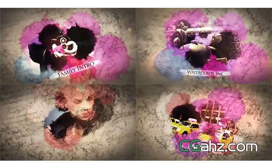炫美彩色水墨晕染出漂亮的图像内容AE模板