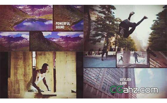 单屏与多屏交错呈现的视频剪辑展示AE模板