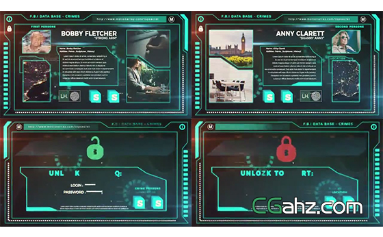 科幻风数据调查系统演示动画AE模板