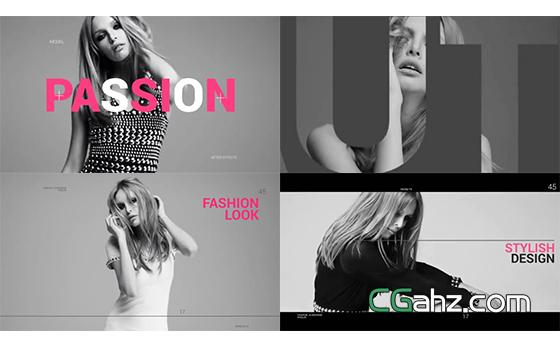 时尚主题图文排版展示片头AE源文件
