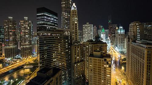 美丽的城市夜景延时摄影视频素材