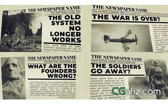 新闻报纸上的内容展示AE模板