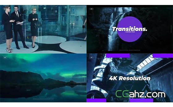 切片、旋转、摄像机移动等效果的转场动画集AE模板