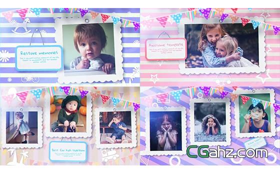 快乐童年记忆,可爱的儿童成长相册AE模板
