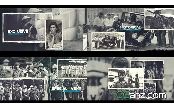 黑白怀旧风历史纪录片内容展示AE模板