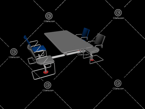 成套的办公桌椅3D模型下载
