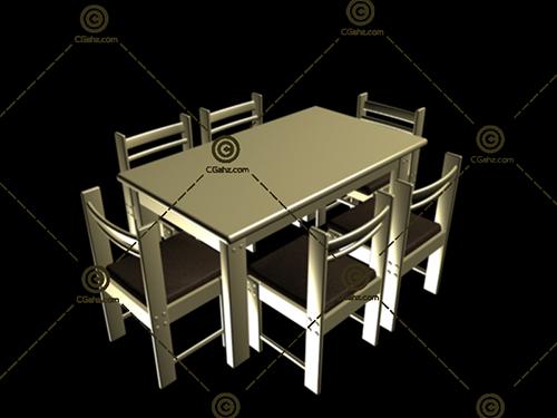 成套的餐桌餐椅3D模型