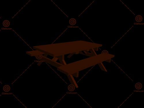 食堂专用成套餐桌椅3D模型免费下载