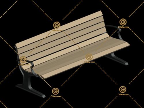小区公园常用休息椅3D模型下载