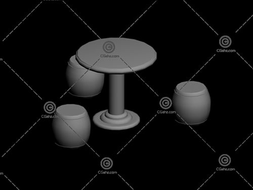 公园石凳子桌子3D模型免费下载
