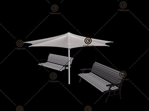 休闲椅遮阳伞套装3D模型下载