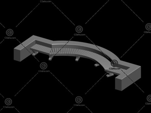 造型别致的小区休息凳3D模型下载