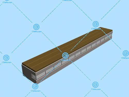 简易的长方形休息凳3D模型免费下载