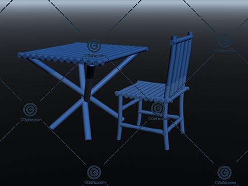 整套桌椅3D模型下载