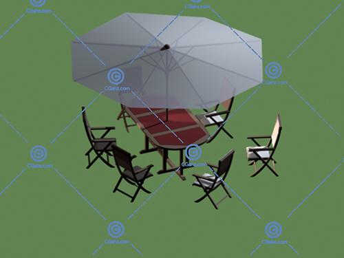 餐桌椅,遮阳伞套装3D模型免费下载