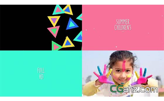 繽紛夏日兒童節主題的卡通元素轉場動畫集AE模板