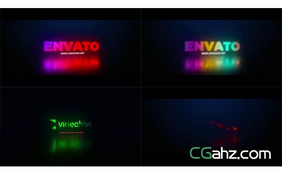 不断闪烁变化的炫彩霓虹灯标志特效AE模板
