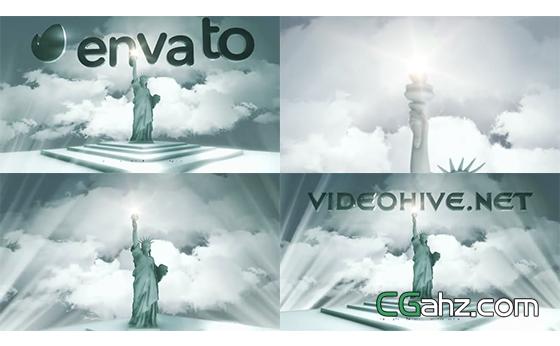 光芒中的自由女神像与电影标志开场AE模板