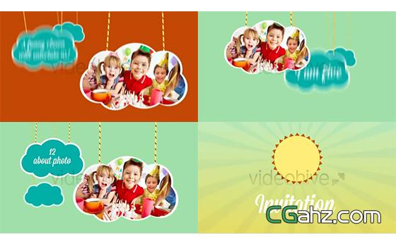 绳索与卡通云朵的儿童节主题展示AE模板