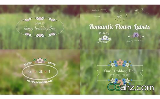 甜美小花朵装饰的浪漫婚礼标签AE模