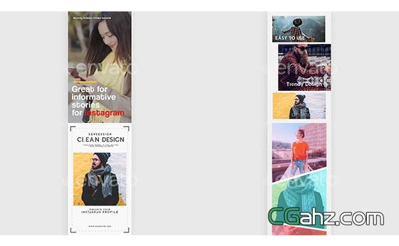 INS等社交APP的个人主页界面动画设计AE模板