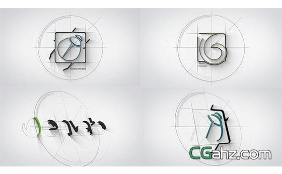 logo标志的线描草图构建过程AE模板