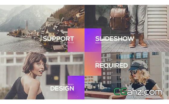 创意彩色矩形动画转场的图文展示开场AE模板