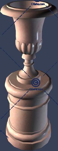 圆形小区花钵3D模型下载