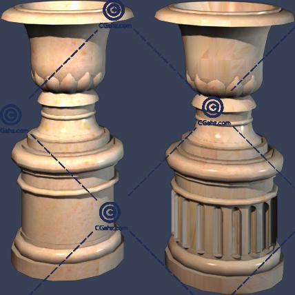 两个不花纹的花钵3D模型下载