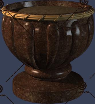 深色花钵3D模型下载
