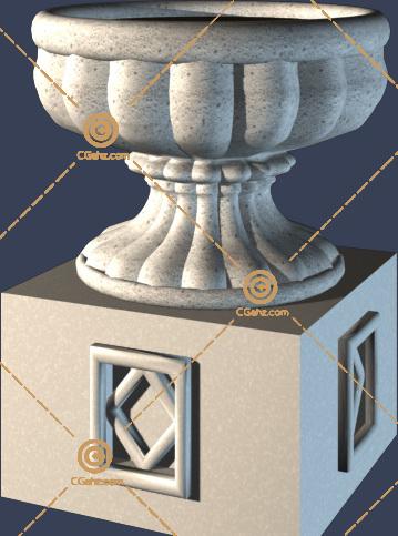 带底座的小区花钵3D模型免费下载