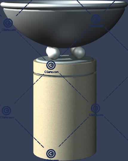 带圆柱形底座的花钵3D模型下载