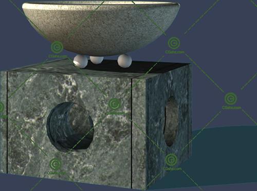 正方形底座花钵3D模型免费下载