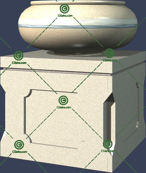 带方形底座的圆形花钵3D模型免费下载