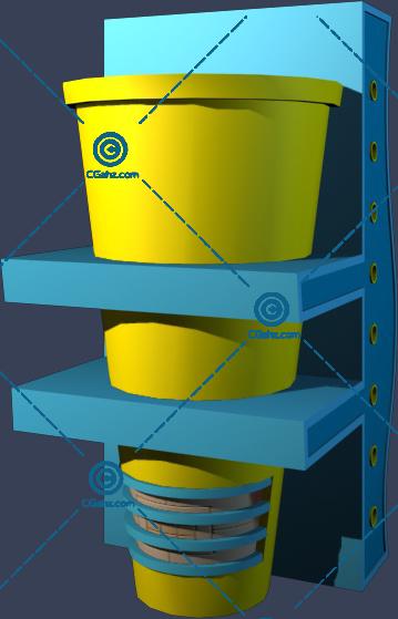 不常见的小区花钵3D模型下载